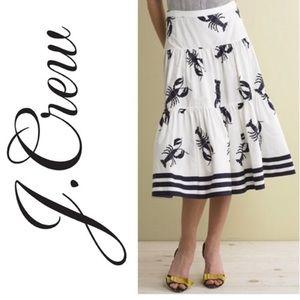 J Crew vintage ruffle lobster skirt navy/ white